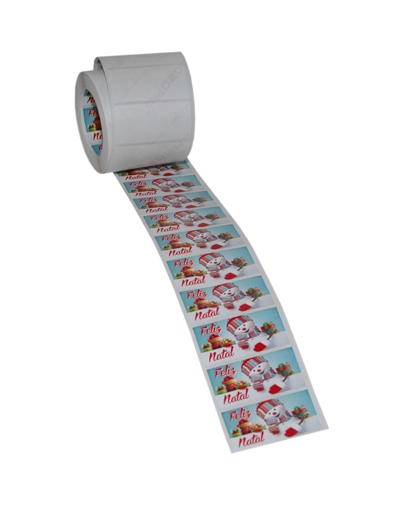 Rolo Etiq. (C/500) Boneco Neve Colorido Feliz Natal - Vários - 4.5x2.5cm - ET0557