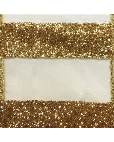 Fita Organza com Listas Douradas - Dourado - 38mmx10y - FT5216