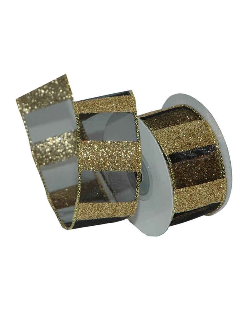 Fita Organza com Listas Douradas/Pretas - Dourado/Preto - 38mmx10y - FT5218