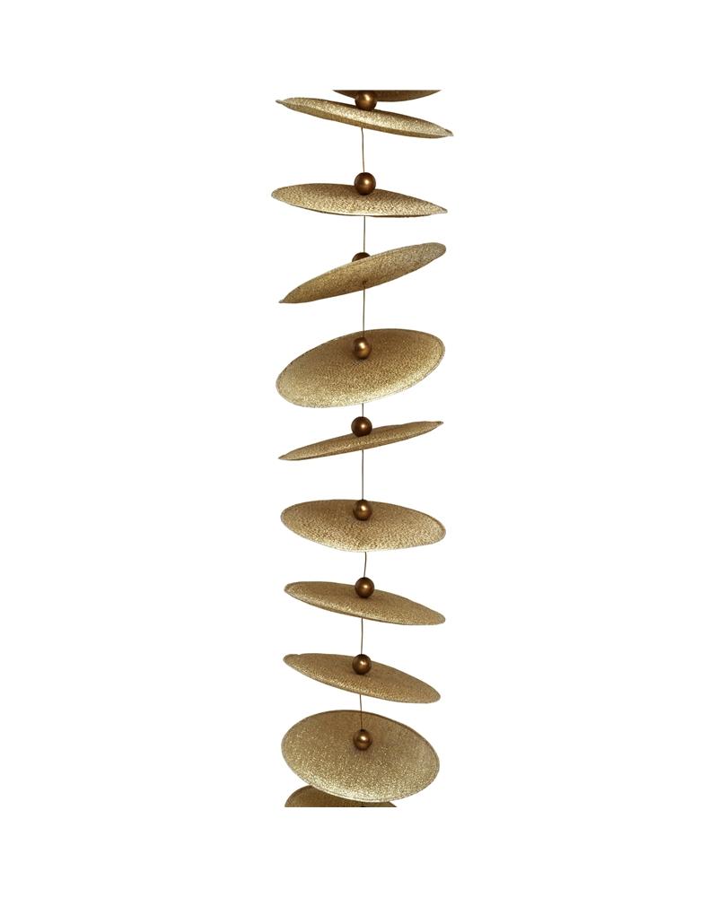 Fio Decorativo c/ Circulos Dourados 80mmx1mts - Dourado - 80mmx1mts - DV0392