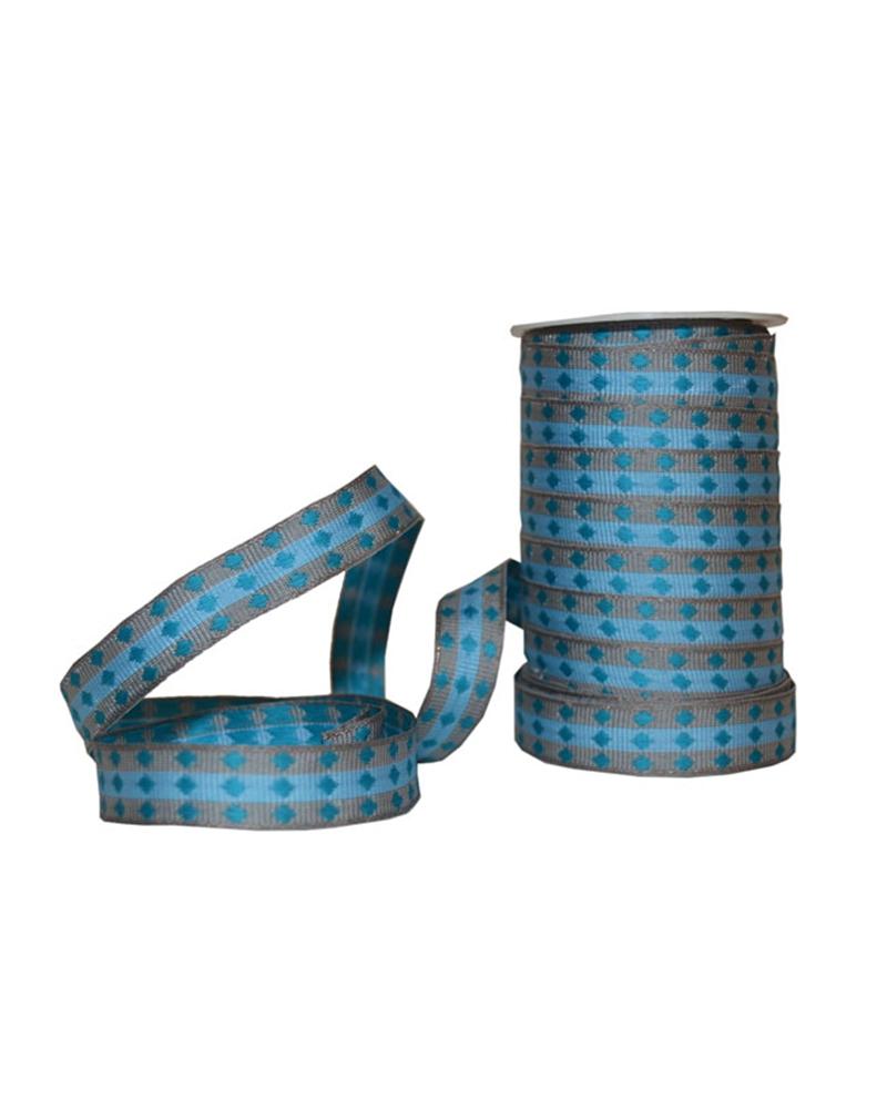Fita Tecido Aramada Losangos Azul - Azul - 15mmx20mts - FT5261