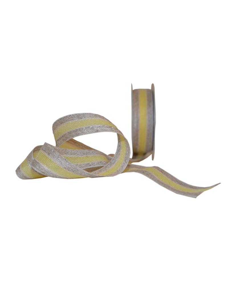 Fita Tecido Natural Risca Amarelo - Amarelo - 25mmx10mts - FT5266