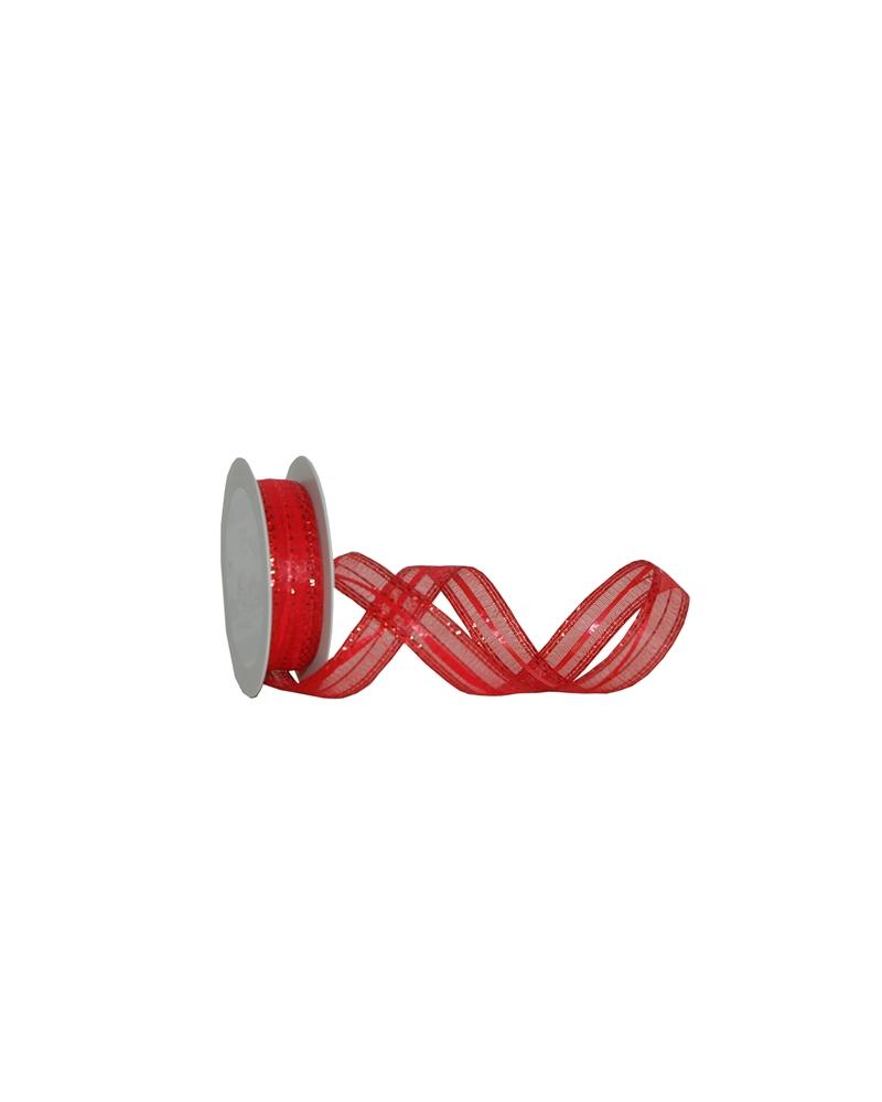 Fita Tecido c/Tirante Vermelho e Tracejado Vermelho - Vermelho - 25mmx15mts - FT5276