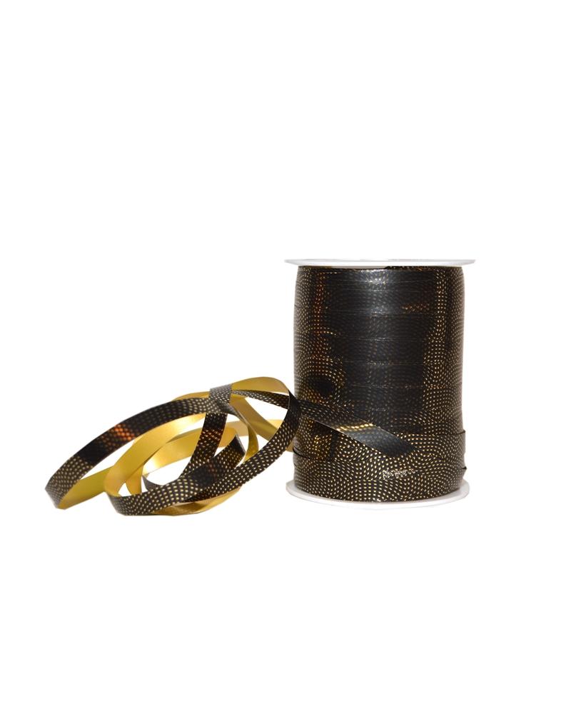 Rolo Fita Metalizada Preta c/Quadrados Dourados 10mm - Preto - 10mmx250mts - FT5281