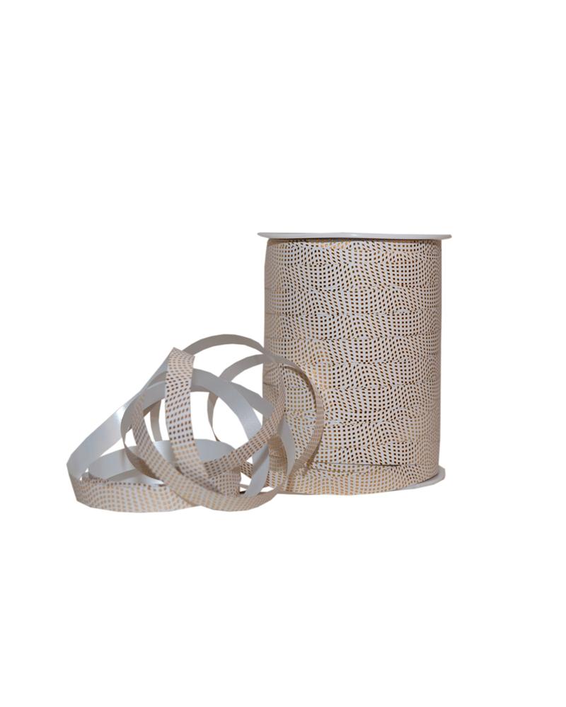 Rolo Fita Metalizada Branca c/Quadrados Dourados 10mm - Branco - 10mmx250mts - FT5282