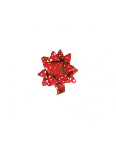 Laço Autoc. Metalizado Vermelho com Bolas (c/60) - Vermelho - 10mm - LÇ0673