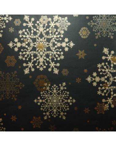 Papel Reflex Fundo Preto com Motivos Natal Dourados - Preto - 70x100cm - PP2811