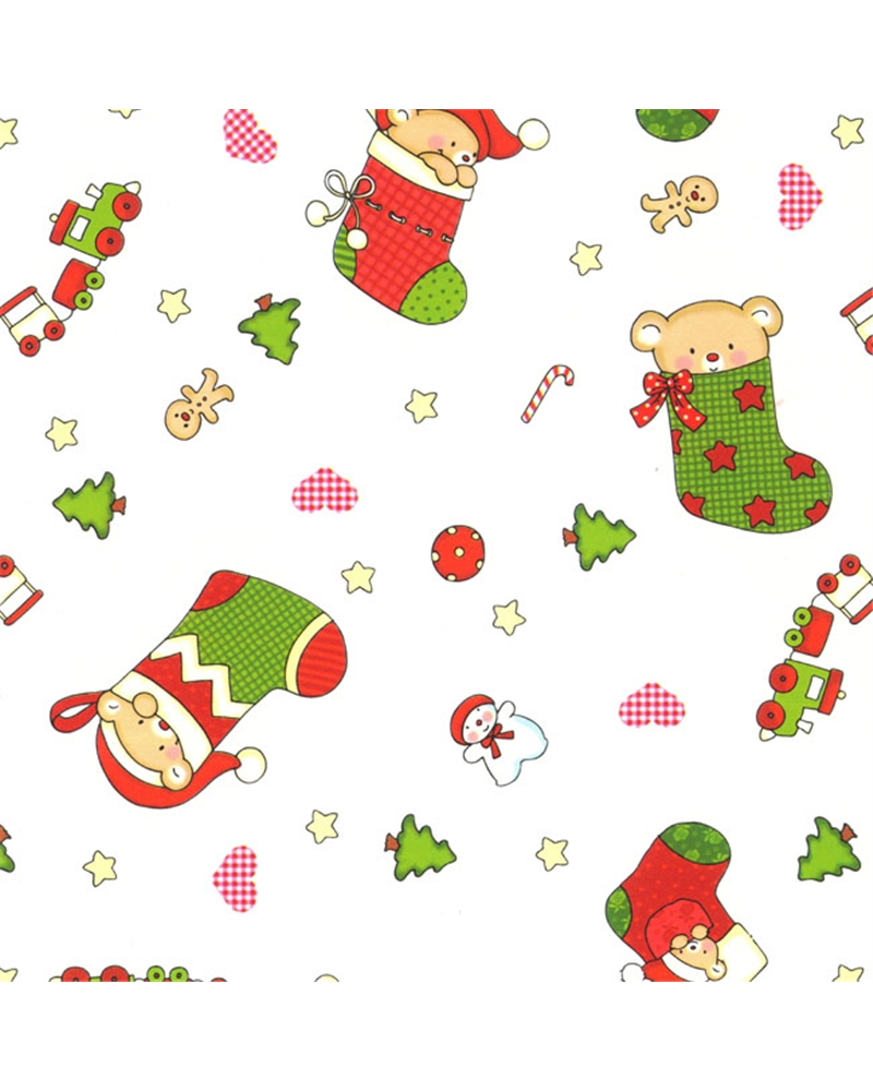 Papel Criança Fundo Branco com Botas de Natal - Branco - 70x100cm - PP2826