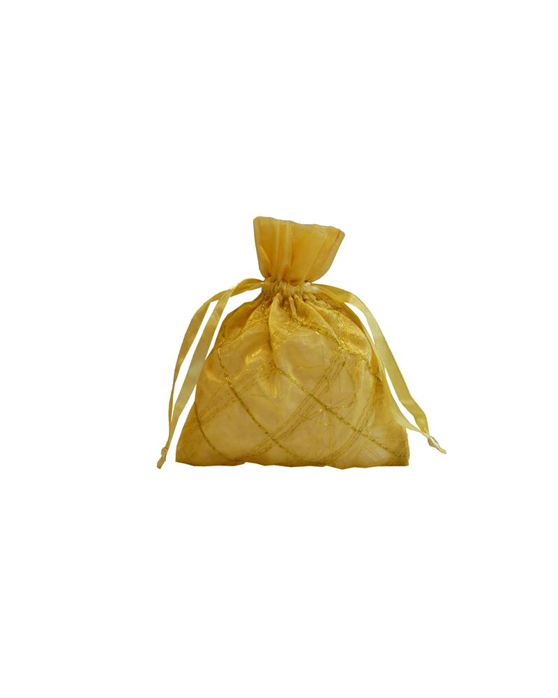 Saco Organza Xadrez Dourado - Dourado - 11X14cm - EO0244