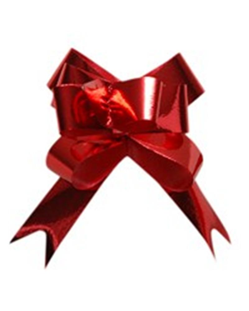 Laço de Puxar Metalizado Vermelho 13mm (c/100) - Vermelho - 13mm - LÇ1190