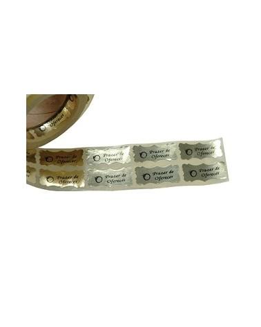 """Rolo c/ 500 Etiquetas """"Prazer de Oferecer"""" (Cortante) - Dourado - 2.8x1.2cm - ET0662"""