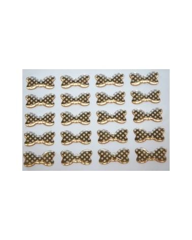 Etiqueta de Resina Autocolante Laço Dourado c/ Pintas Branca - Dourado - 3x1.5cm - ET1675