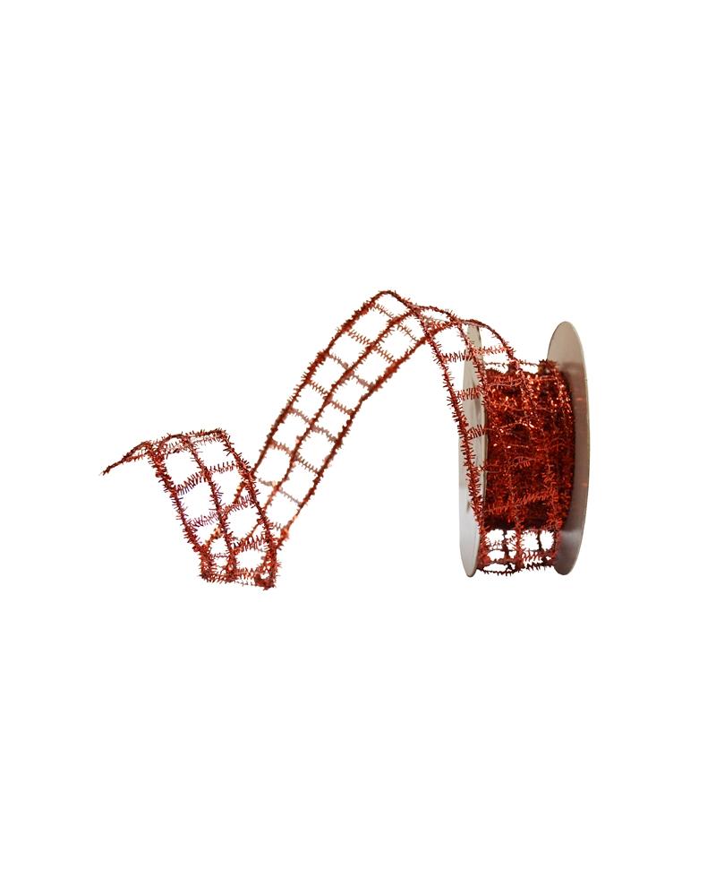 Fita Rede Metalizada Vermelho 25mm - Vermelho - 25mmx10mts - FT2506