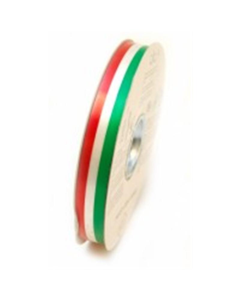 Fita Tricolor Verde, Branco e Vermelho 19mm 100mts - Verde/Branco/Vermelho - 19mmx100mts - FT1174
