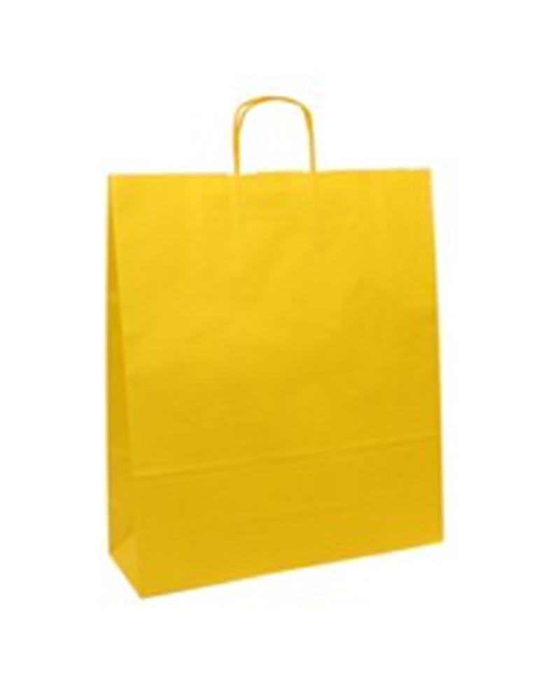 Saco Asa Retorcida Branco Liso Fundo Amarelo - Amarelo - 42+16x49 - SC0677