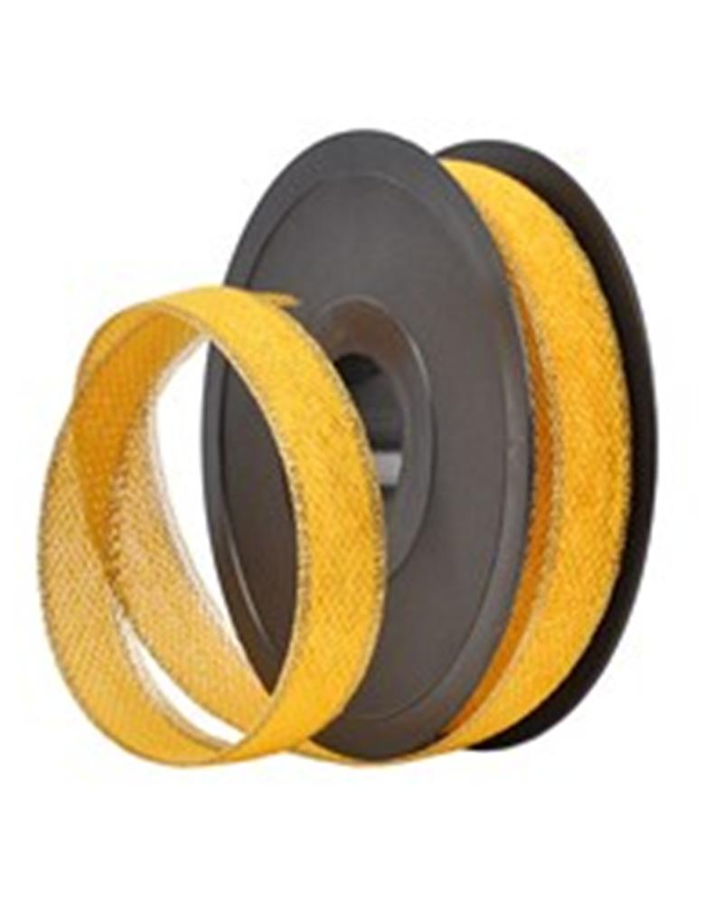 """Fita de Algodão """"497"""" Amarela C/ Bordo Dourado 20mmx20mts - Amarelo - 20mmx20mts - FT0824"""