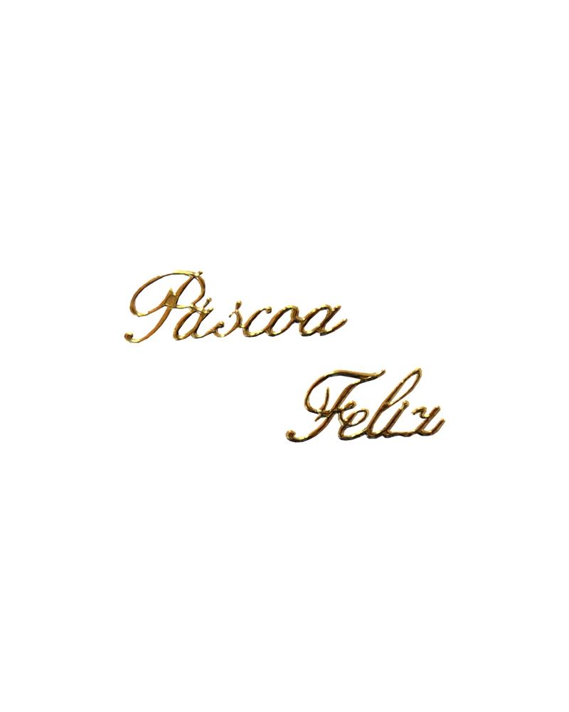 """Etiquetas Troqueladas """"Páscoa Feliz"""" Ouro (min.10) - Dourado - Vários - ET0038"""