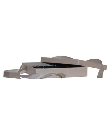 Caixa Linha Platina p/ Colar c/Fita - Prateado - 19.4x19.5x3.6cm - EO0393