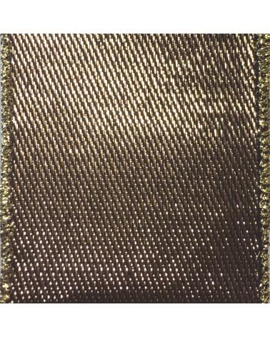 Fita de Algodão Armada Castanha/Dourada 25mm - Castanho - 25mmx10mts - FT2154
