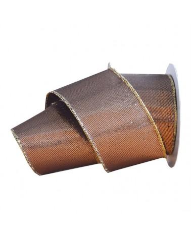 FT2159 | Fitas | Fita de Algodão Armada Castanha/Dourada 63mm