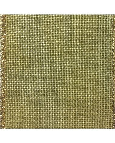 Fita de Algodão Armada Verde/Dourada 25mm - Verde - 25mmx10mts - FT2162