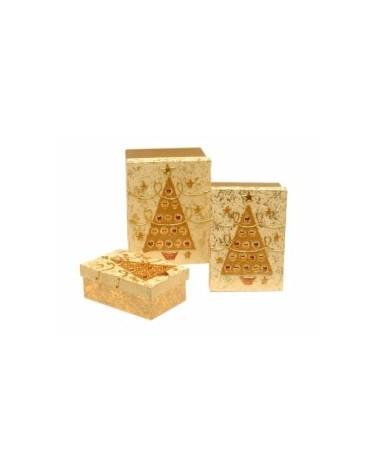 Conj. 3 Cx Art. Dour. e Bege c/Arv. Natal e Bolas Coloridas - Dourado/Bege - CX0884