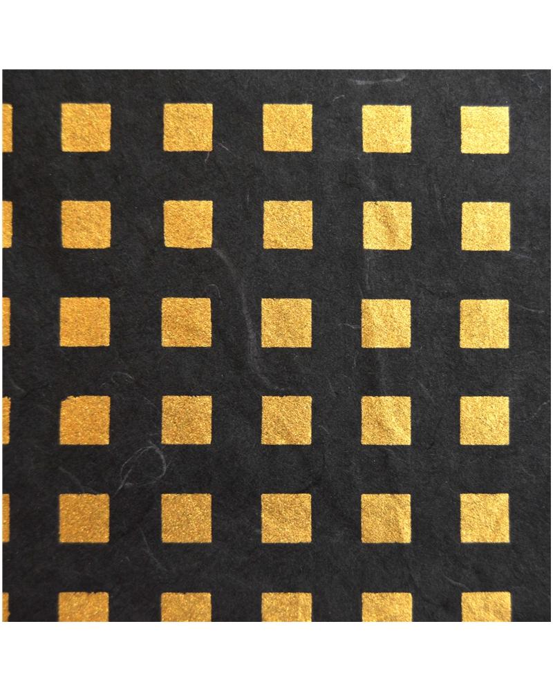 Papel Artesanal Preto/Quadrados Dourados - Preto - 70x100cm - PP0741