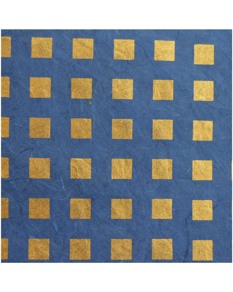 Papel Artesanal Azul/Quadrados Dourados - Azul - 70x100cm - PP0742