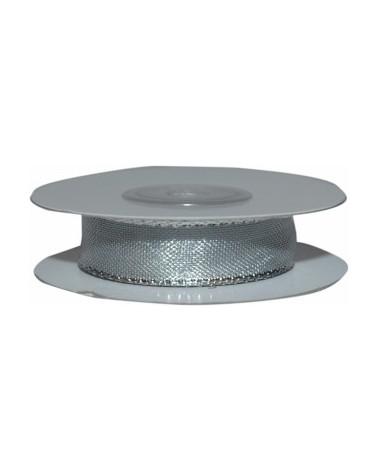 Fita Organza Metalizada Prateada 15mm - Prateado - 15mmx10mts - FT3760