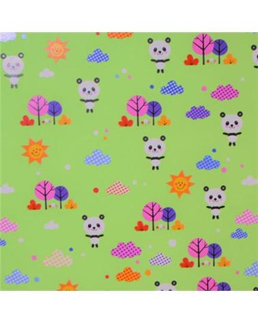 Papel Criança Verde com Pandas - Verde - 70x100cm - PP2843