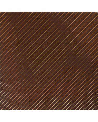Rolo Papel Kraft Fundo Castanho c/Riscas Douradas - Castanho - 0.70x100mts - BB2283
