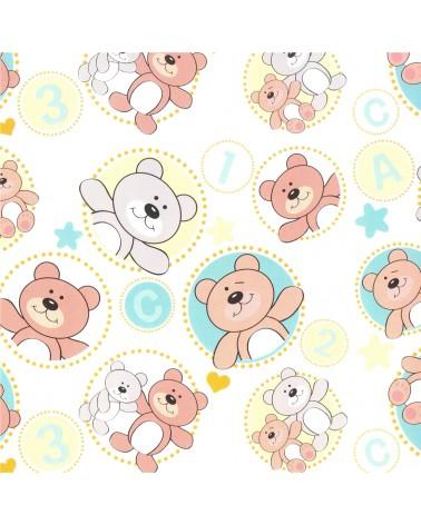 Rolo Papel Criança fd Branco c/ Ursos - Branco - 0.70x100mts - BB2290