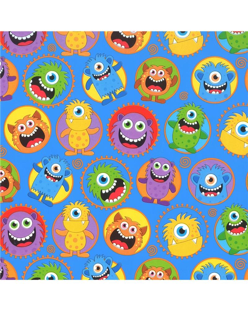 Rolo Papel Criança fundo Azul c/ Monstros - Azul - 0.70x100mts - BB2291