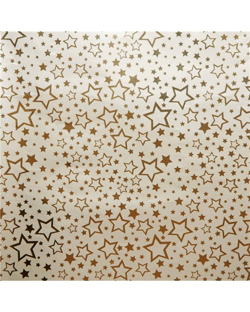 Rolo PP Reflex Dourado c/Estrelas Ouro - Dourado - 0.70x100mts - BB2253