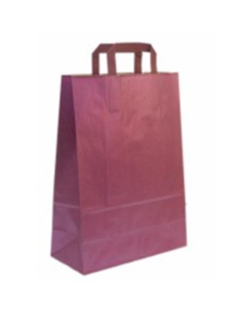 Saco Asa Plana Kraft Verj. Metalizado Rosa - Rosa Metalizado - 32+17X45 - SC1739