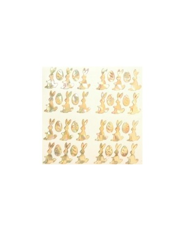 Etiquetas Troqueladas Coelhos da Páscoa Ouro (min.10) - Dourado - Vários - ET0215