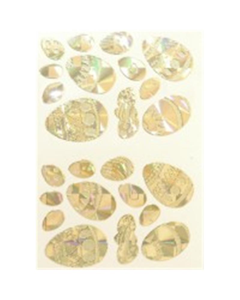 Etiquetas Troqueladas Ovos da Páscoa Ouro (min.10) - Dourado - Vários - ET0217