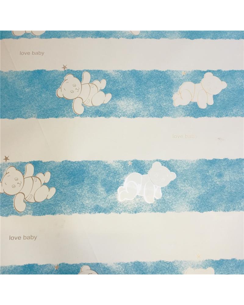 Papel Laminado Azul Ursos Criança (min. 25) - Azul - 70x100cm - PP1912