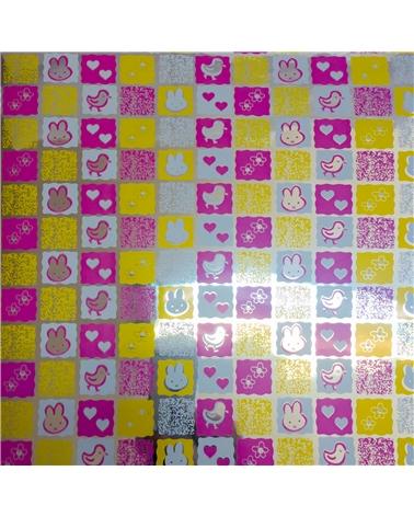Rolo Papel Laminado Criança Rosa com Coelhos - Rosa - 0.70X250mts - BB1198