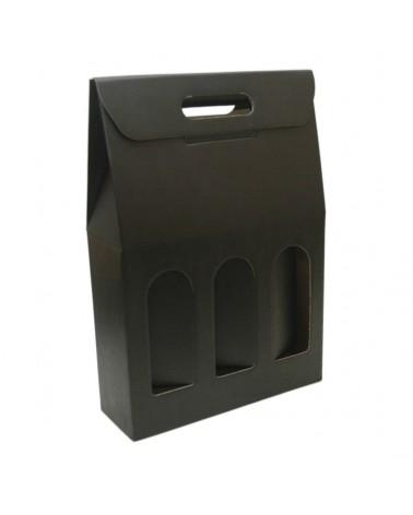 Caixa Seta Nero Scatola para 3 Garrafas - Preto - 270x90x385mm - CX2095