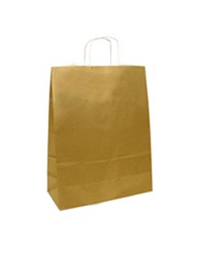 Saco Asa Retorcida Branco Liso Fundo Dourado 32x42+12 - Dourado - 32+12x40 - SC1476