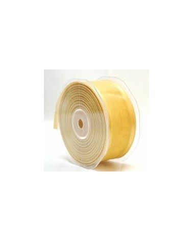 Rolo Fita Organza Aramada Present Dourada 38mmx20mts - Dourado - 38mmx20mts - FT3288