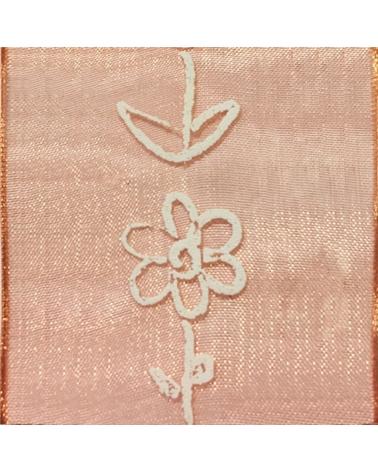 Fita Organza Laranja c/ Flores Brancas 40mm - Laranja - 40mmx10y - FT3992