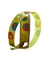 Fita Seda Aramada Verde Limão c/ Circulos Coloridos - Verde - 15mmx10y - FT3999