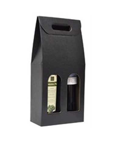 Caixa Seta Nero Scatola para 2 Garrafas - Preto - 180x90x385mm - CX2316