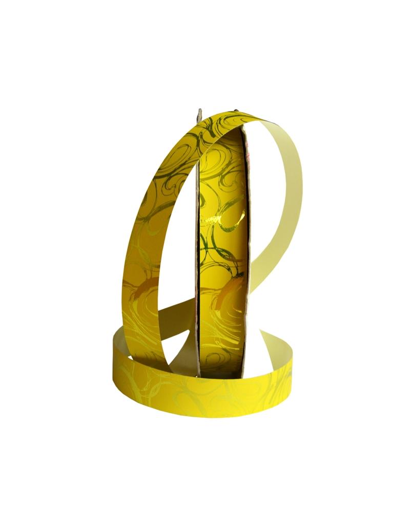 Rolo  de Fita Metalizada Amarela c/Arabescos 19mm - Amarelo - 19mmx100mts - FT4127