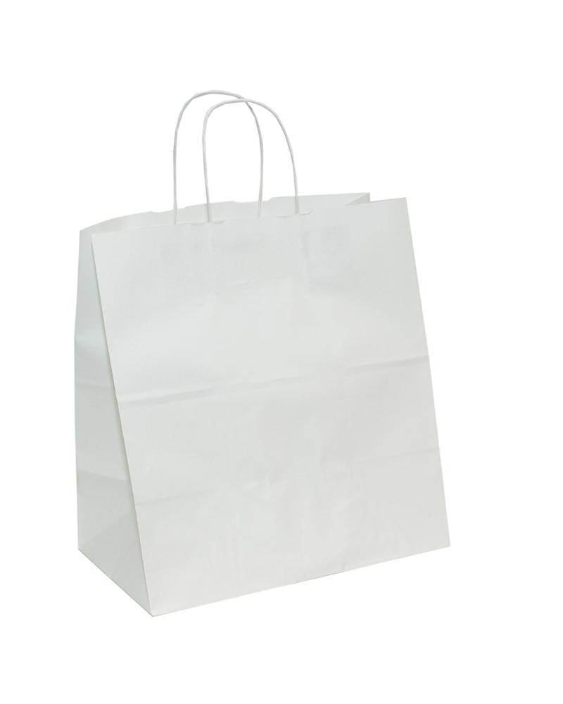 Saco Asa Retorcida Take Away Kraft Branco - Branco - 32+19x34 - SC3032