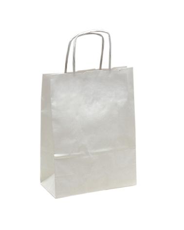 Saco Asa Retorcida Papel Kraft Branco Liso - Branco - 18+08x21 - SC3290