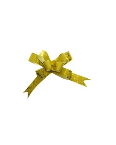 Laço de Puxar Metalizado Amarelo c/Arabescos 19mm (c/100) - Amarelo - 19mm - LÇ0593