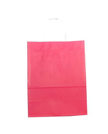 Saco Asa Retorcida Branco Liso Fundo Rosa - Rosa - 24+12x31 - SC2984